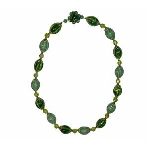 Vintage Western Germany Green Beaded Necklace